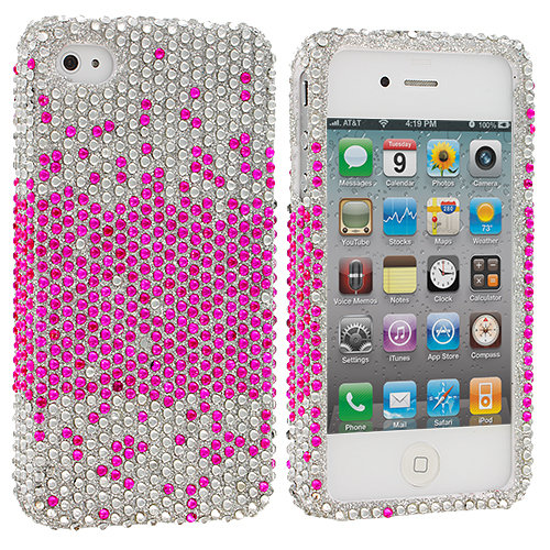 Apple iPhone 4 / 4S Pink Silver Bling Rhinestone Case Cover