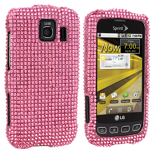 LG Optimus S LS670 / U / V Light Pink Bling Rhinestone Case Cover