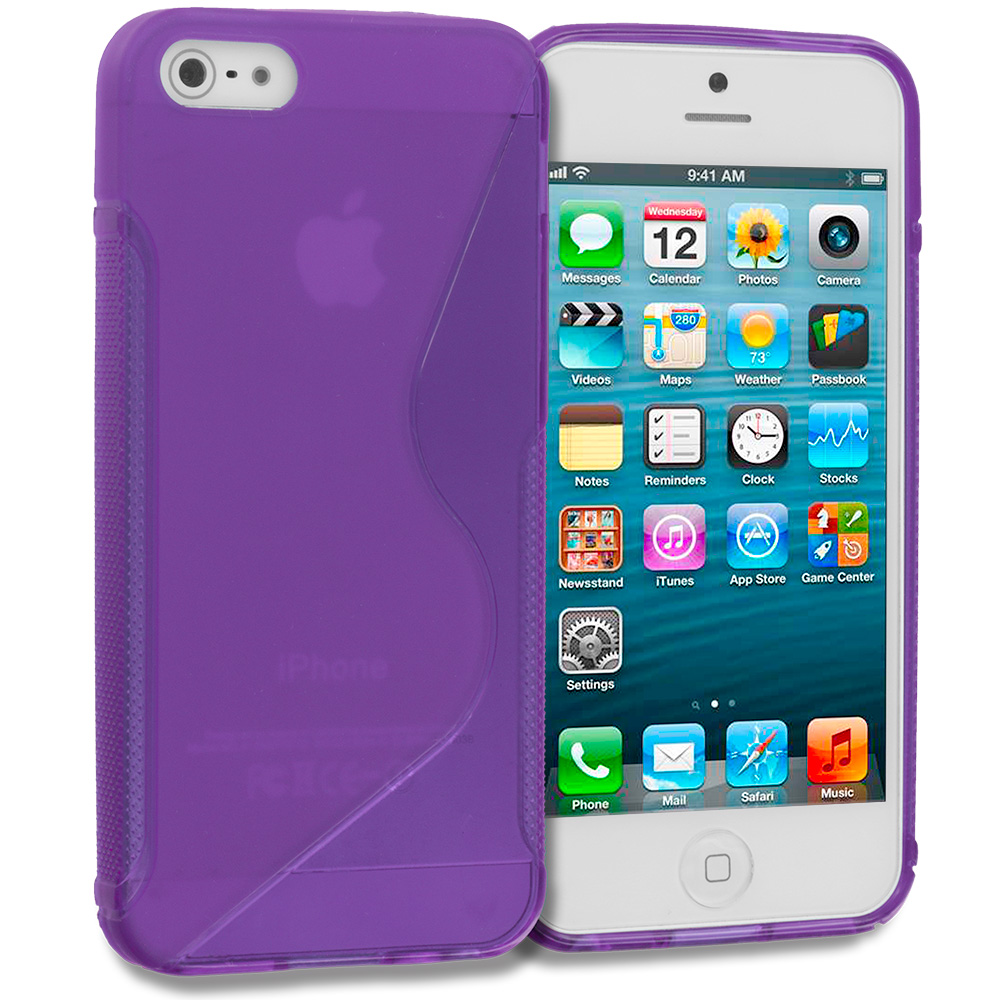 Apple iPhone 5/5S/SE Purple S-Line TPU Rubber Skin Case Cover