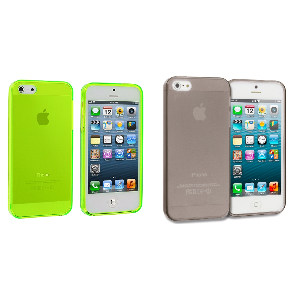 Apple iPhone 5/5S/SE Combo Pack : Neon Green Plain TPU Rubber Skin Case Cover