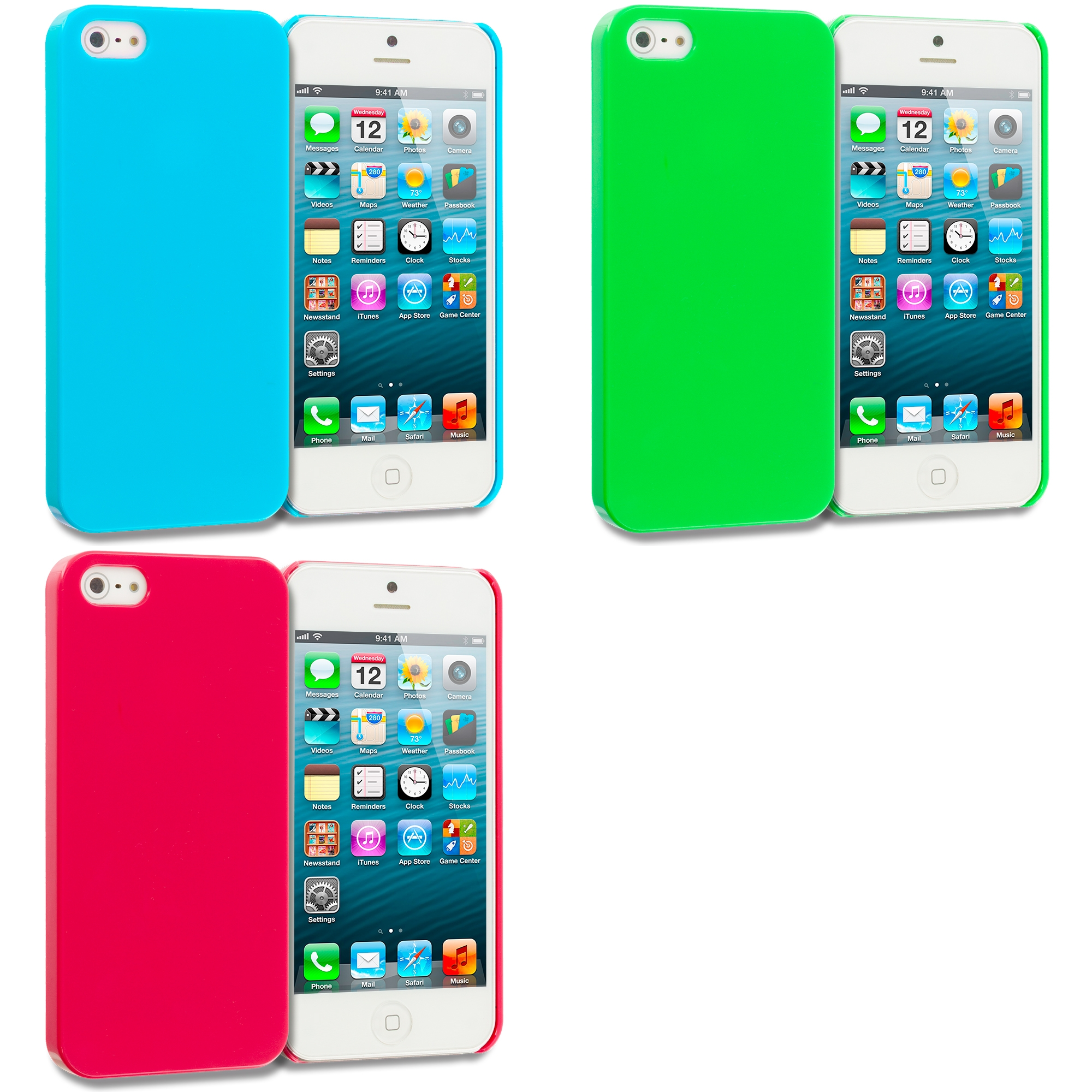Apple iPhone 5/5S/SE Combo Pack : Baby Blue Solid Crystal Hard Back Cover Case