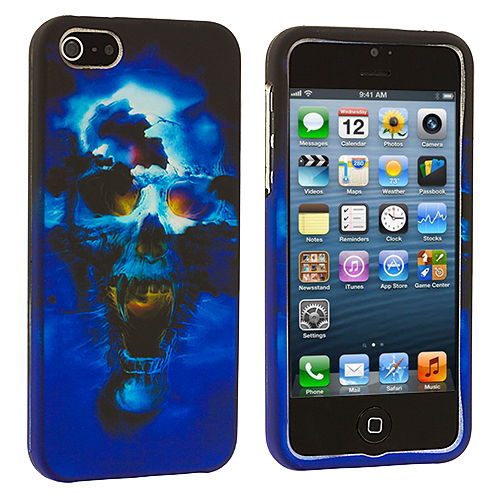 Apple iPhone 5/5S/SE Blue Skull Hard Rubberized Design Case Cover