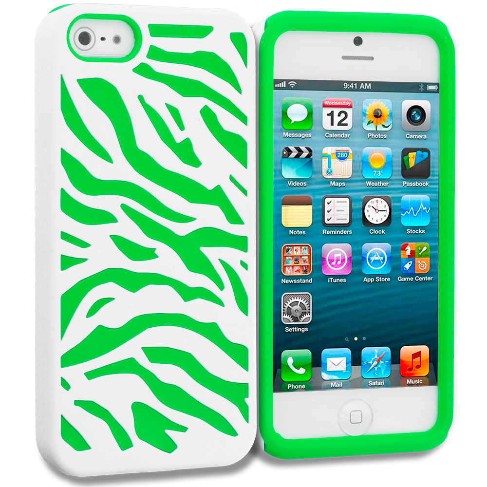 Apple iPhone 5/5S/SE Neon Green / White Hybrid Zebra Hard/Soft Case Cover