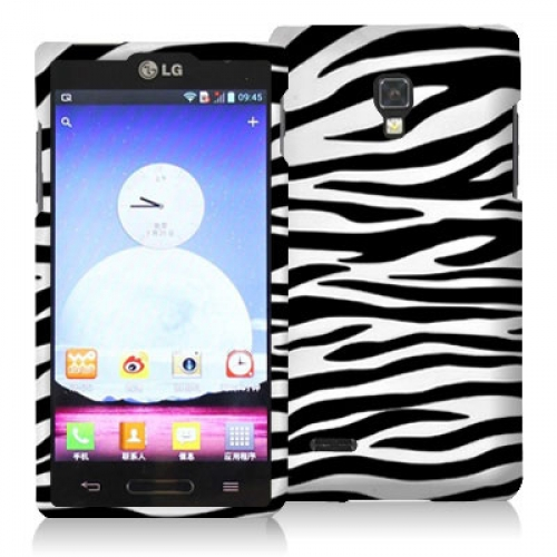 LG Optimus L9 P769 T-Mobile Black / White Zebra Hard Rubberized Design Case Cover