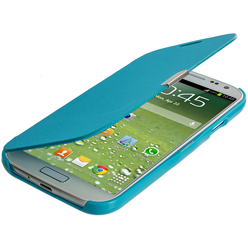 Samsung Galaxy S4 Baby Blue Smooth Magnetic Wallet Case Cover Pouch