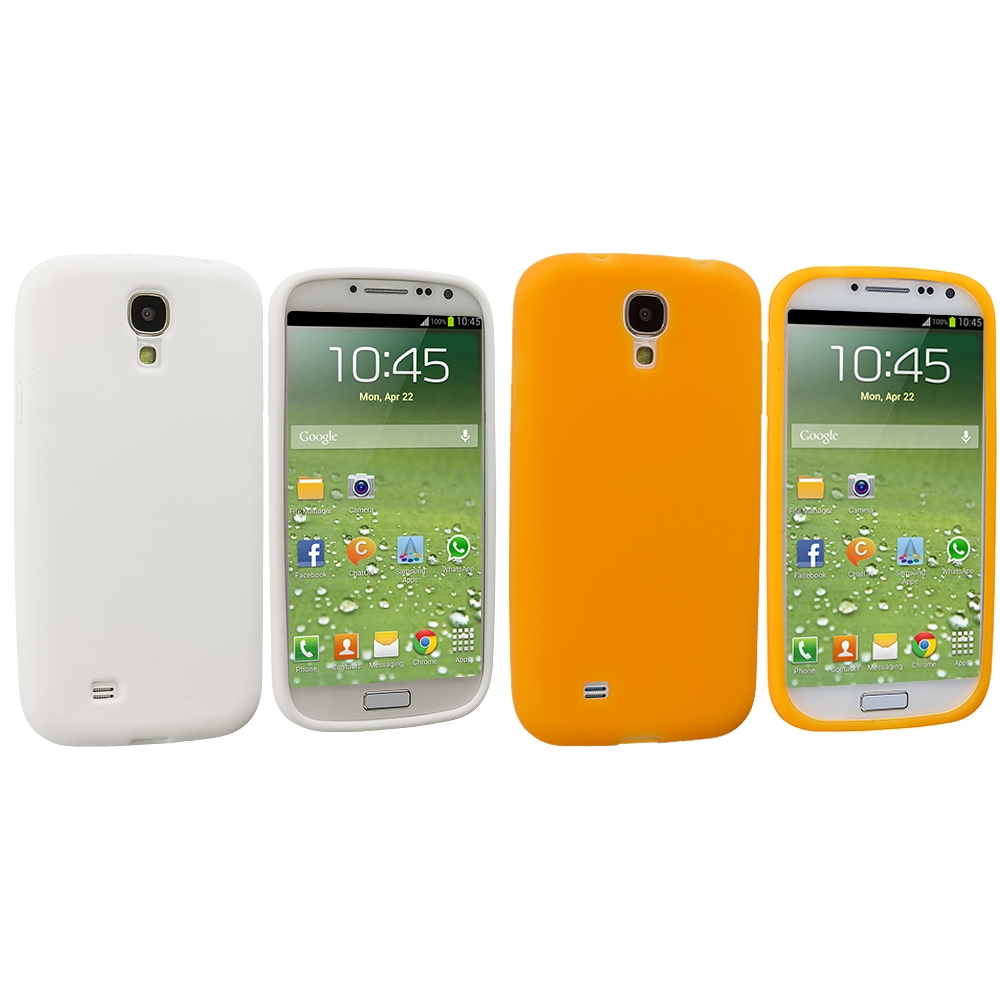 Samsung Galaxy S4 2 in 1 Combo Bundle Pack - White Orange Silicone Soft Skin Case Cover