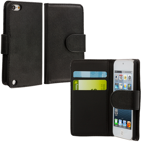 Apple iPod Touch 5th 6th Generation Black Smooth Leather Wallet Pouch Case Cover with Slots