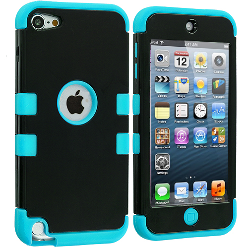 Apple iPod Touch 5th 6th Generation Baby Blue / Black Hybrid Tuff Hard/Soft 3-Piece Case Cover