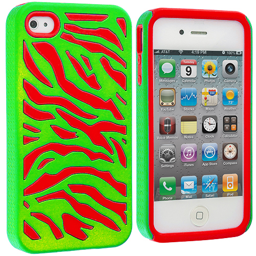 Apple iPhone 4 / 4S Red / Neon Green Hybrid Zebra Hard/Soft Case Cover