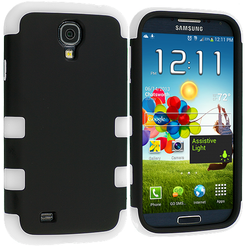 Samsung Galaxy S4 White / Black Hybrid Tuff Hard/Soft 3-Piece Case Cover