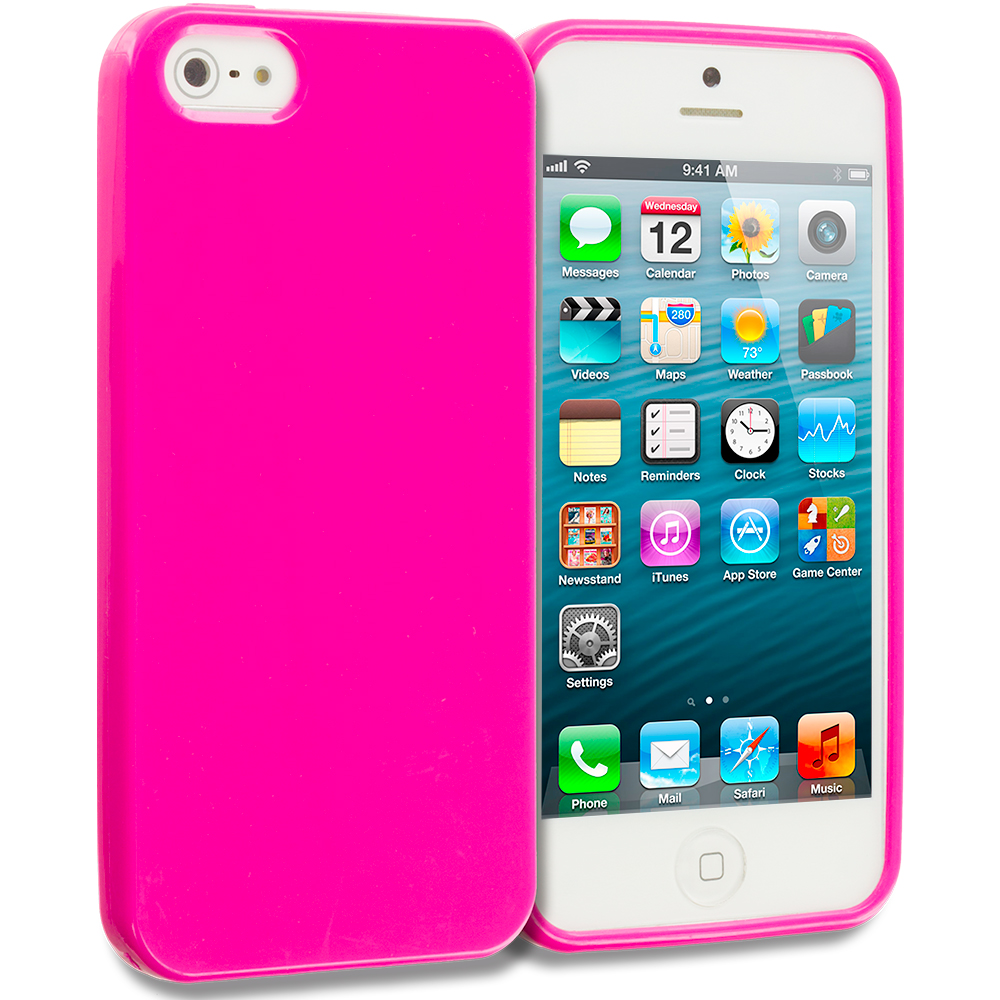 Apple iPhone 5/5S/SE Pink Solid TPU Rubber Skin Case Cover