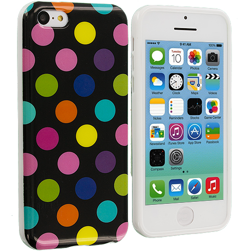 Apple iPhone 5C 2 in 1 Combo Bundle Pack - Colorful Hot Pink TPU Polka Dot Skin Case Cover : Color Black / Colorful