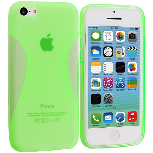 Apple iPhone 5C 2 in 1 Combo Bundle Pack - Neon Green Yellow Slim TPU Rubber Skin Case Cover : Color Neon Green Slim