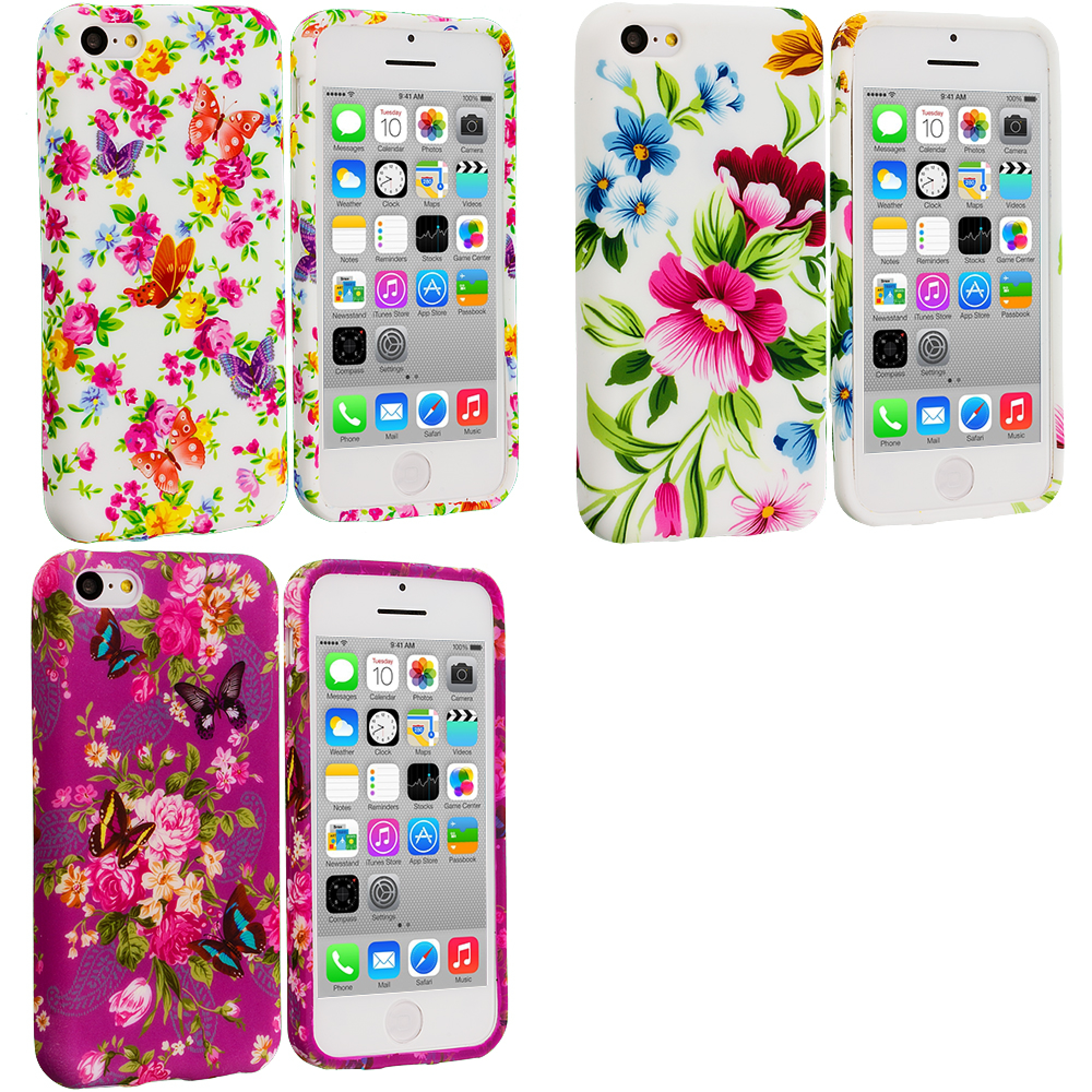 Apple iPhone 5C 3 in 1 Combo Bundle Pack - Flowers TPU Design Soft Case Cover