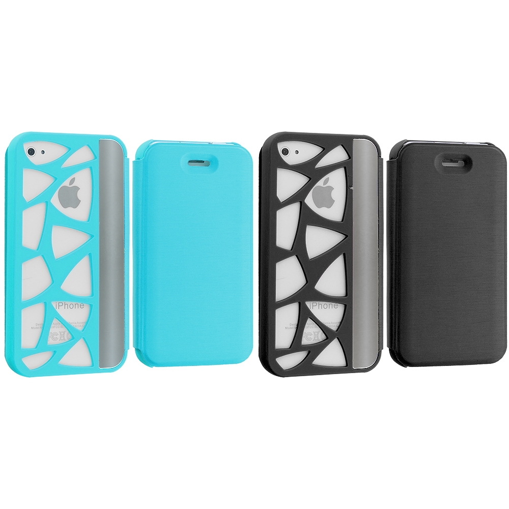 Apple iPhone 4 / 4S 2 in 1 Combo Bundle Pack - Baby Blue Black Wallet Case Cover Pouch