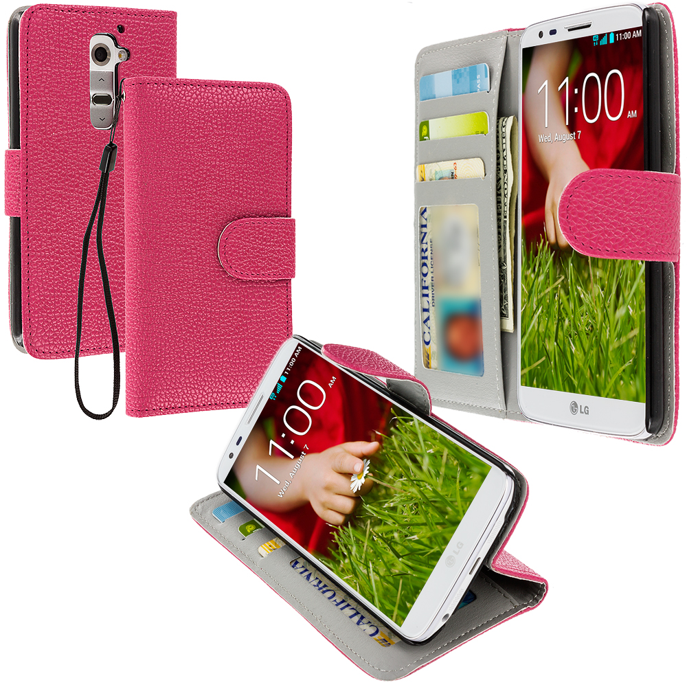 LG G2 Sprint, T-Mobile, At&t Hot Pink Leather Wallet Pouch Case Cover with Slots