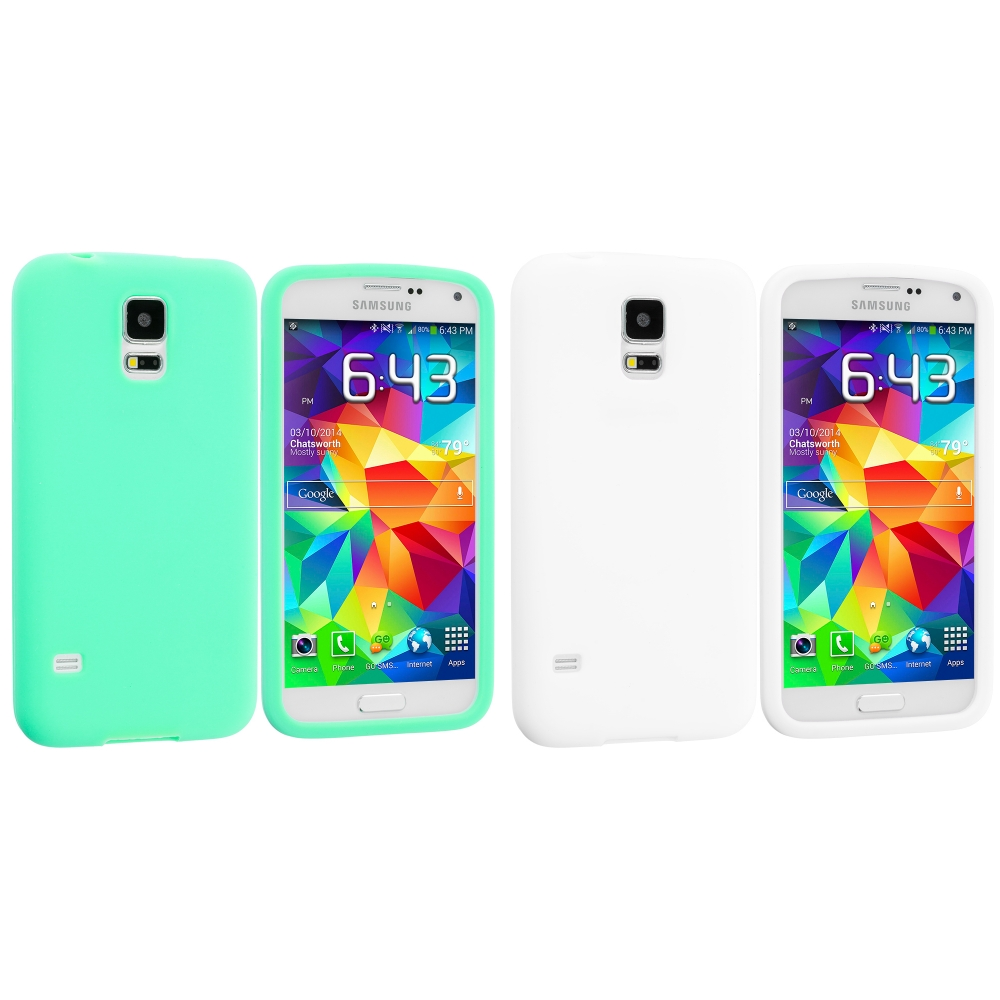 Samsung Galaxy S5 2 in 1 Combo Bundle Pack - White Mint Green Silicone Soft Skin Case Cover