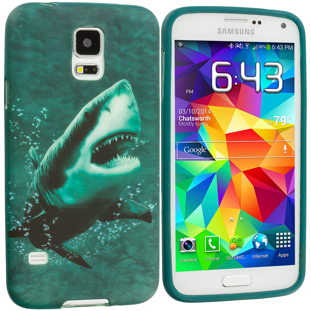 Samsung Galaxy S5 4 in 1 Combo Bundle Pack - Animals TPU Design Soft Case Cover : Color Shark