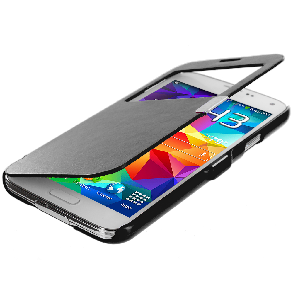 Samsung Galaxy S5 2 in 1 Combo Bundle Pack - Black White Magnetic Wallet Case Cover Pouch : Color Black (Open Front)