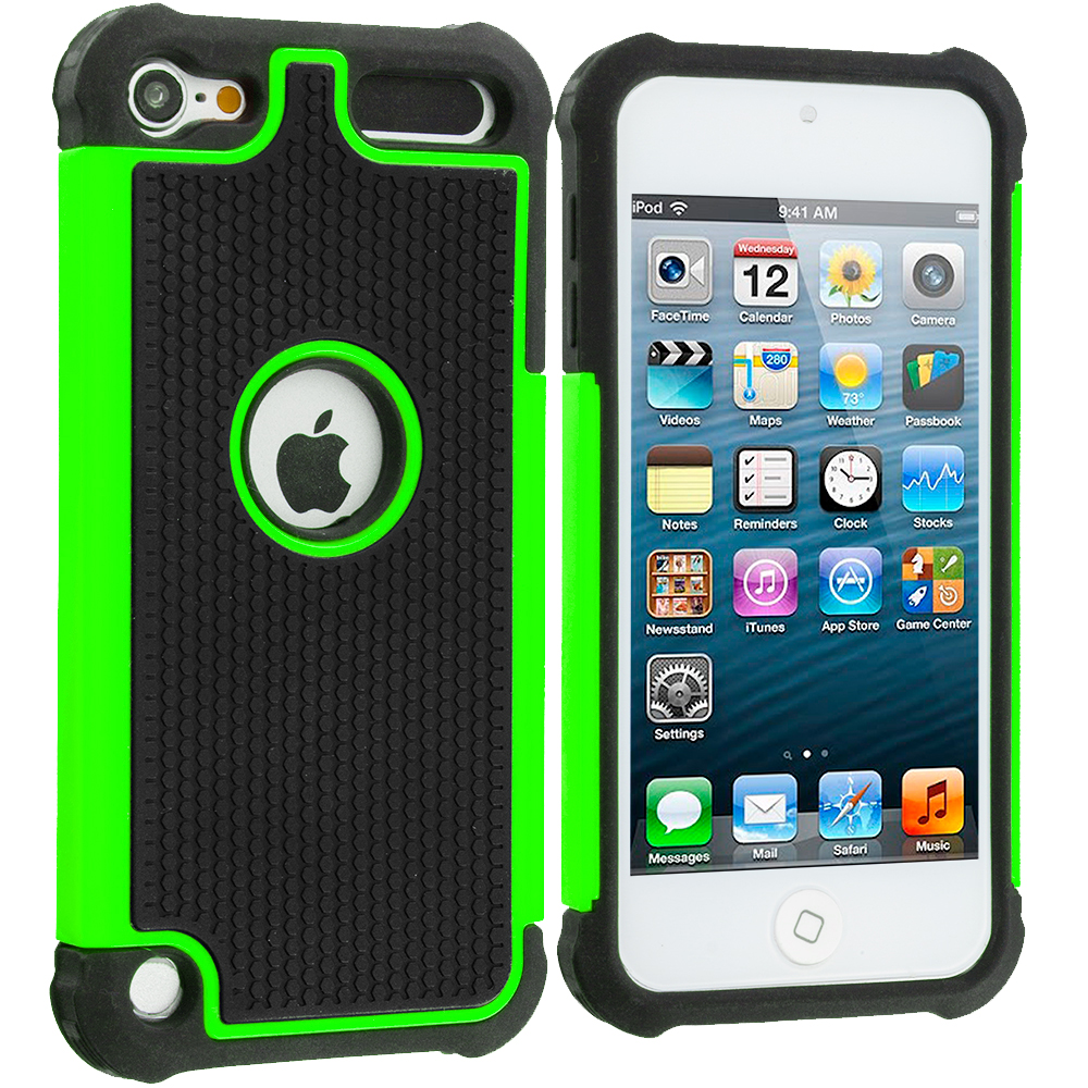 Apple iPod Touch 5th 6th Generation 2 in 1 Combo Bundle Pack - Black / Green Hybrid Rugged Hard/Soft Case Cover : Color Black / Neon Green