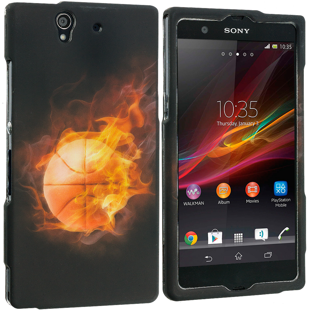Sony Xperia Z Flaming Basketball Hard Rubberized Design Case Cover