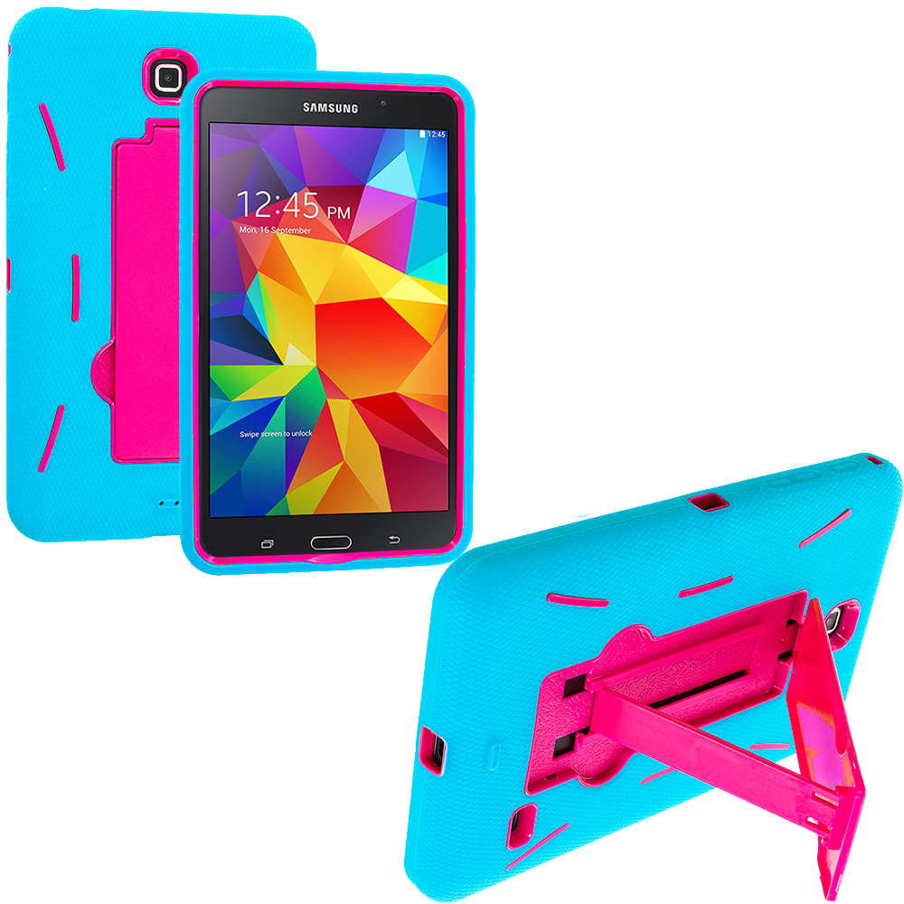 Samsung Galaxy Tab 4 8.0 Baby Blue / Hot Pink Hybrid Heavy Duty Hard/Soft Case Cover with Stand