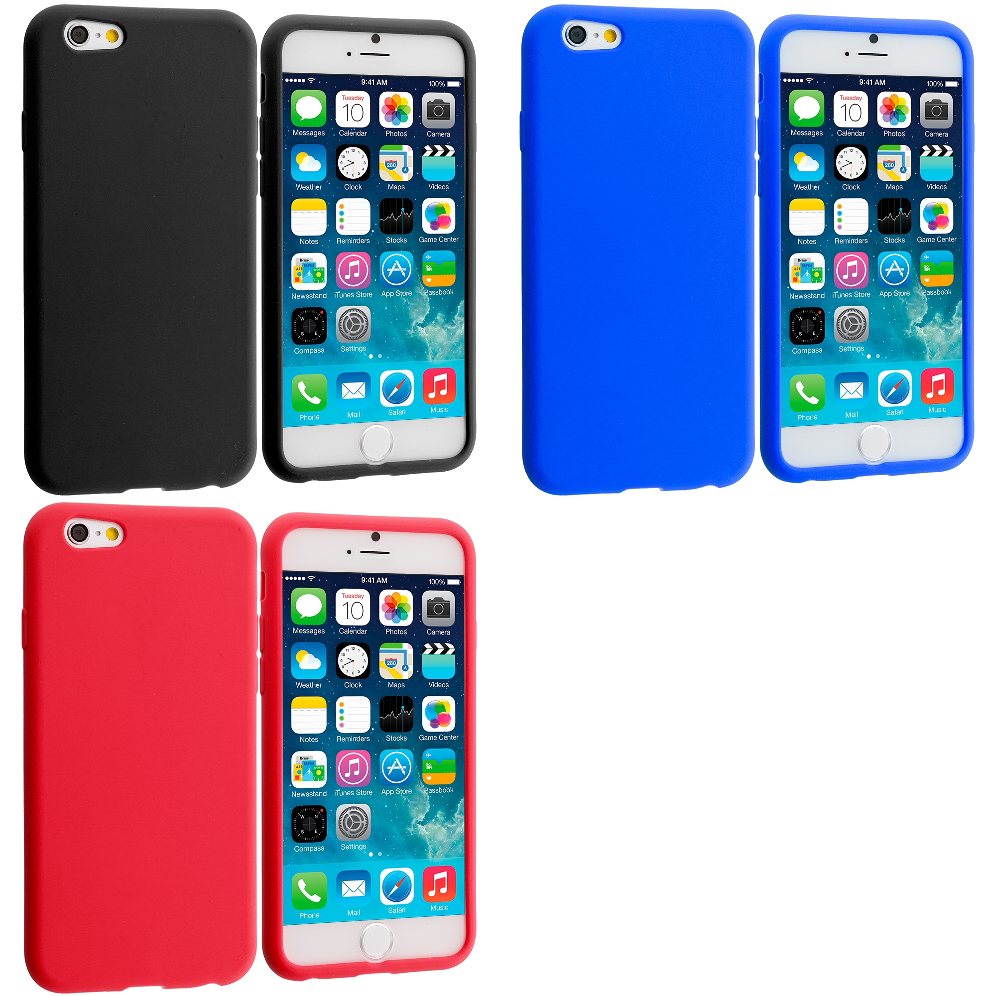 Apple iPhone 6 6S (4.7) 3 in 1 Combo Bundle Pack - Silicone Soft Skin Case Cover