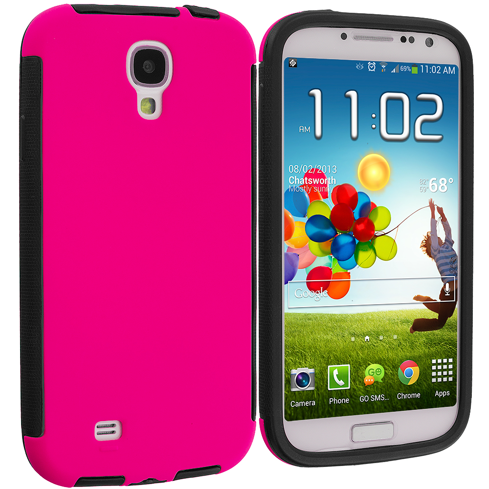 Samsung Galaxy S4 Black / Hot Pink Hybrid Hard TPU Shockproof Case Cover With Built in Screen Protector