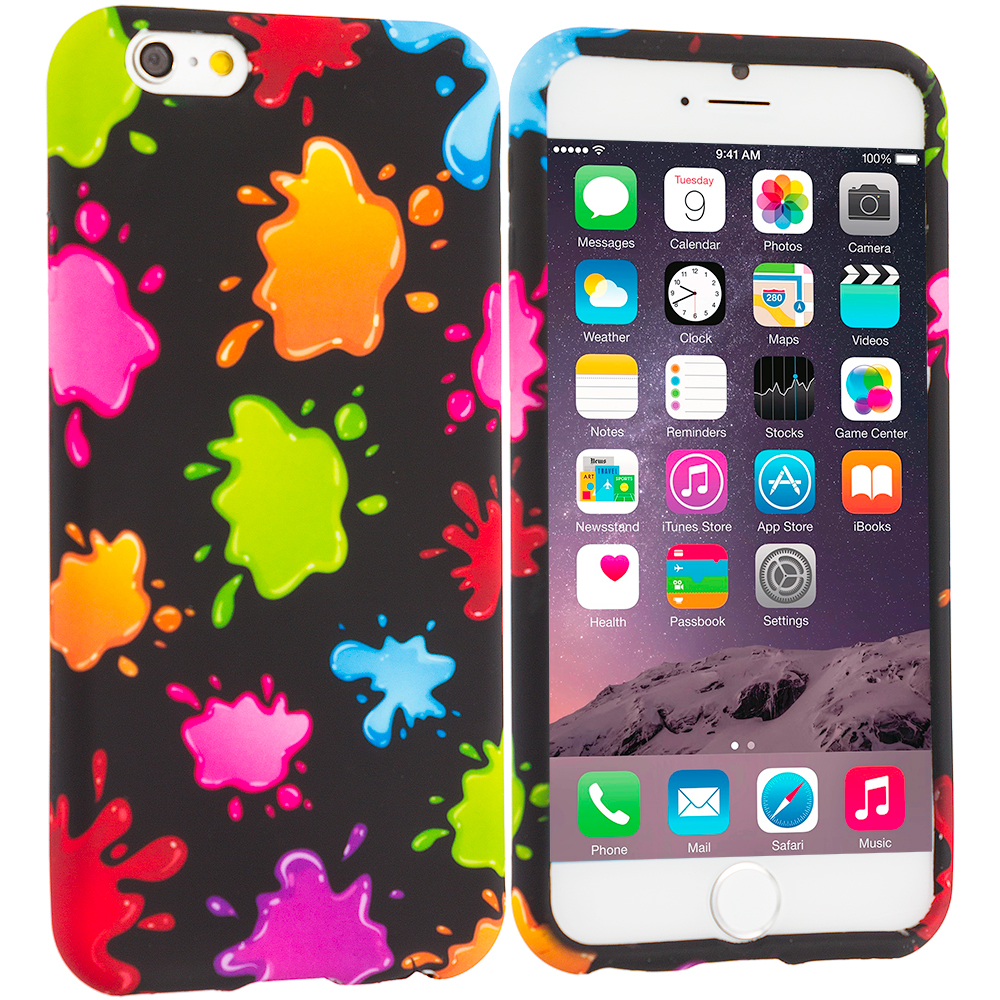 Apple iPhone 6 Plus 6S Plus (5.5) Colorful Splash TPU Design Soft Rubber Case Cover