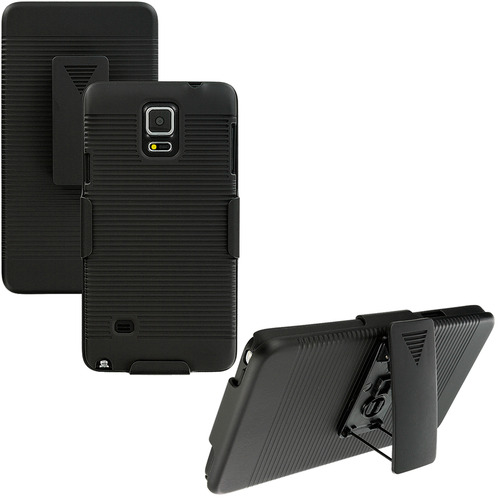 Samsung Galaxy Note 4 Black Belt Clip Holster Hard Case Cover