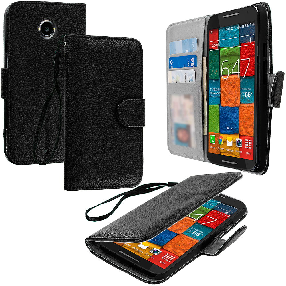 Motorola Moto X 2nd Gen Black Leather Wallet Pouch Case Cover with Slots