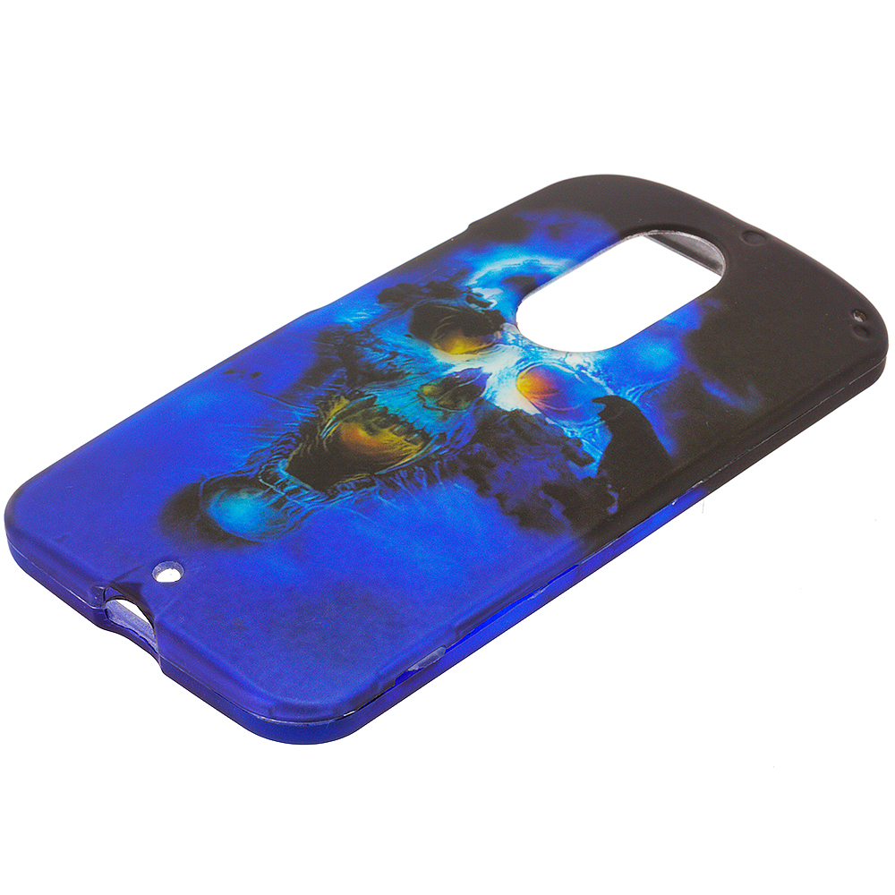 Motorola Moto X 2nd Gen Blue Skulls 2D Hard Rubberized Design Case Cover