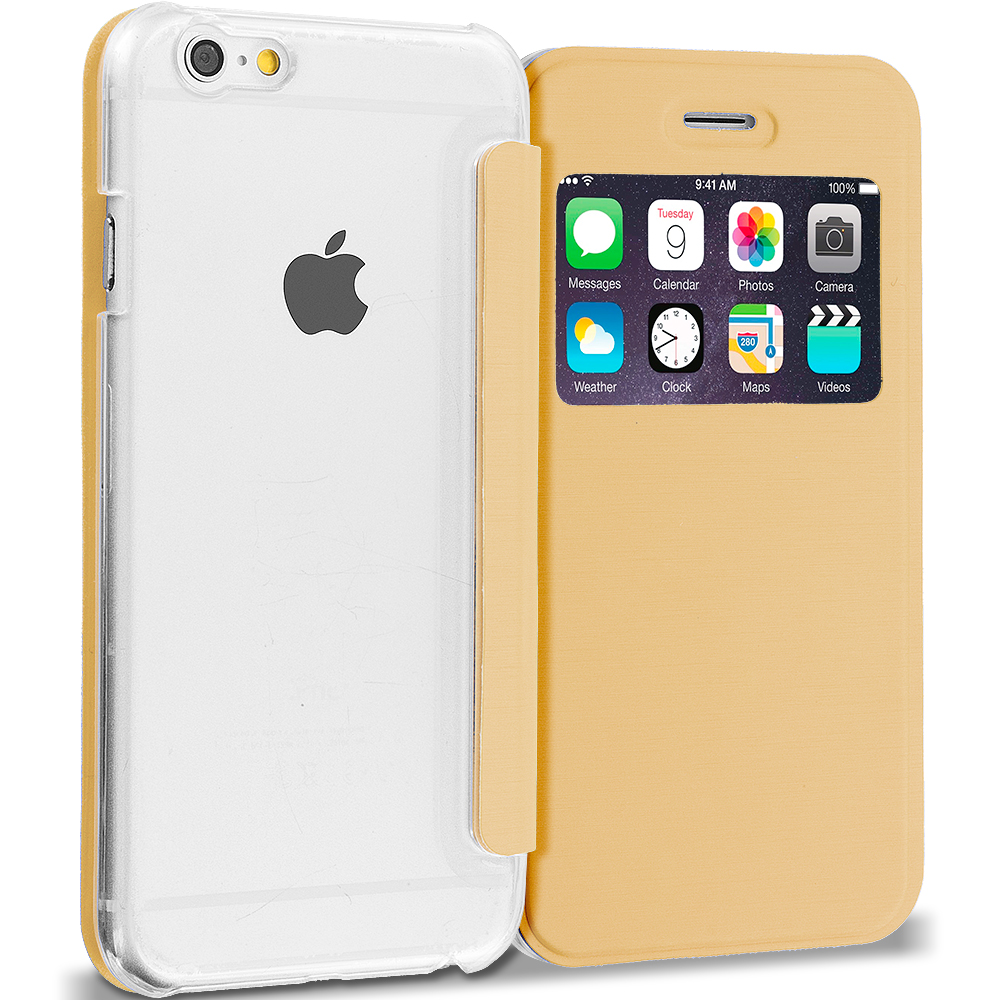 Apple iPhone 6 6S (4.7) 4 in 1 Combo Bundle Pack - Slim Hard Wallet Flip Case Cover Clear Back With Window : Color Gold