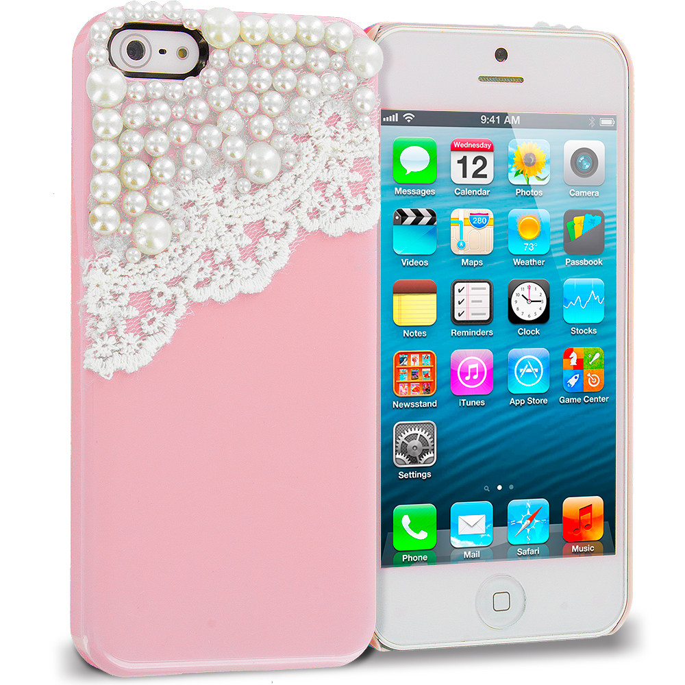 Apple iPhone 5/5S/SE Combo Pack : Pink Pearls Crystal Hard Back Cover Case : Color Pink Pearls