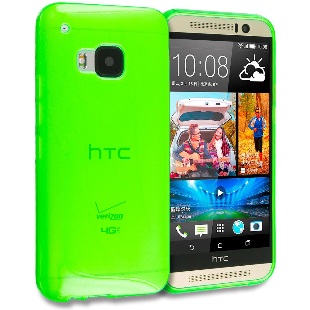 HTC One M9 Neon Green TPU Rubber Skin Case Cover