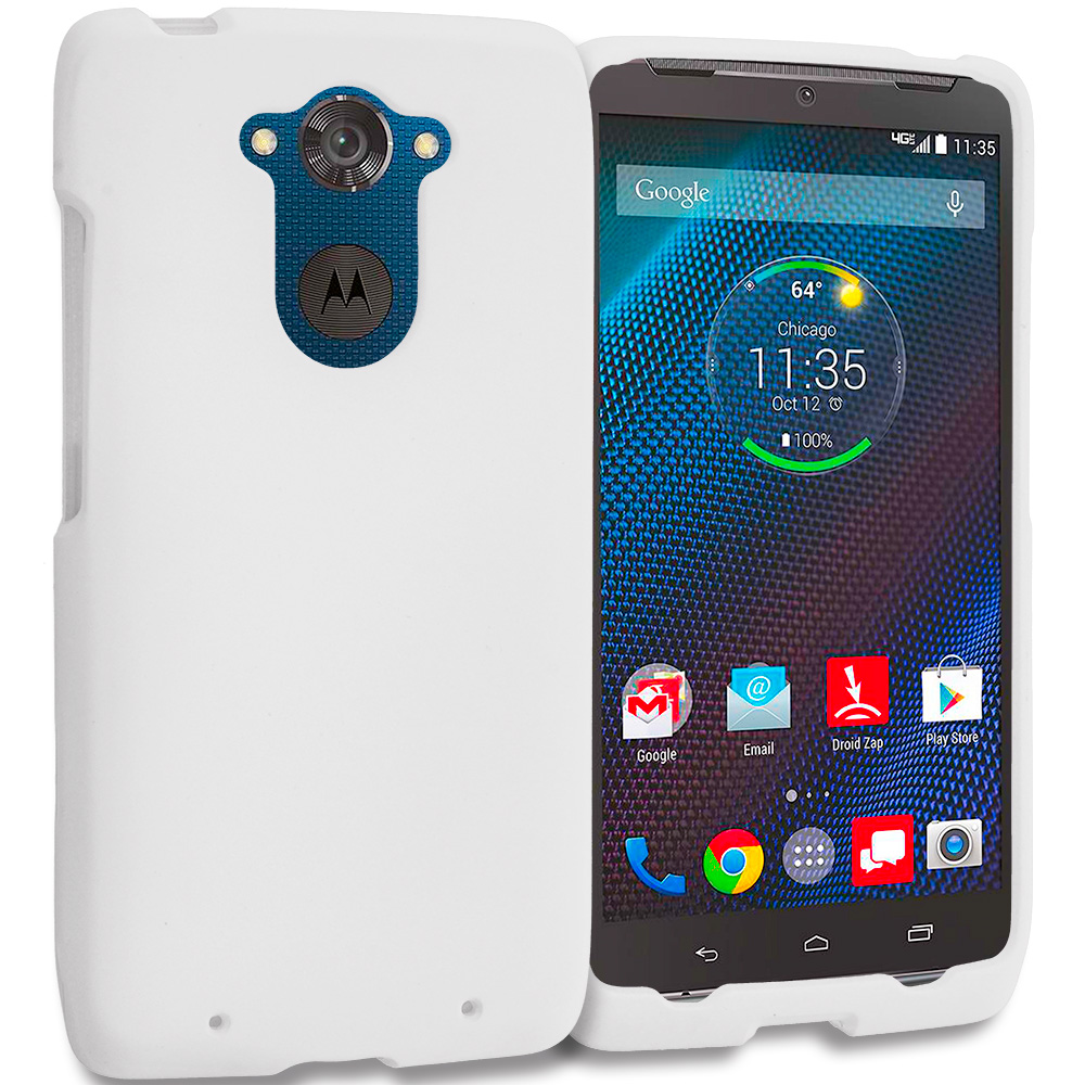 Motorola Droid Turbo White Hard Rubberized Case Cover