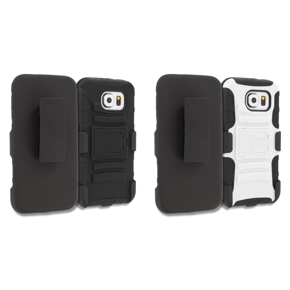 Samsung Galaxy S6 Combo Pack : Black Hybrid Heavy Duty Rugged Case Cover with Belt Clip Holster