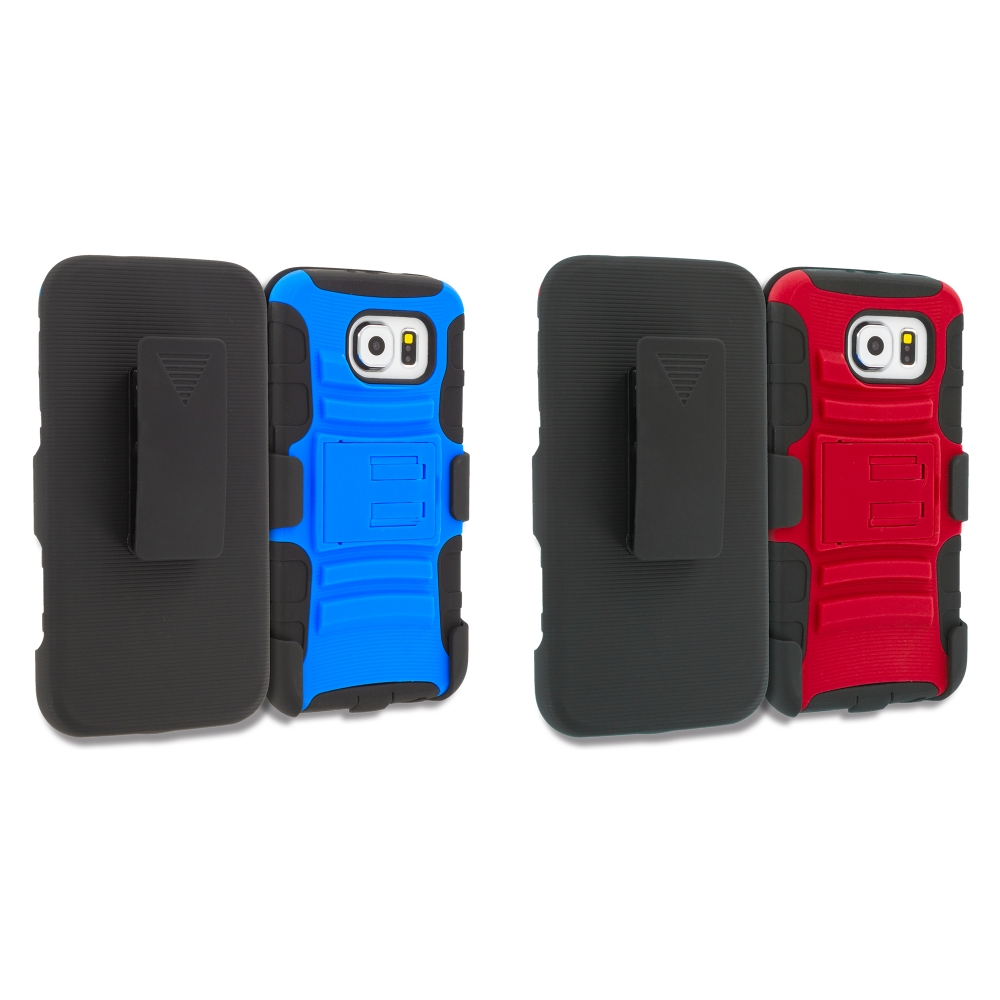 Samsung Galaxy S6 Combo Pack : Blue Black Hybrid Heavy Duty Rugged Case Cover with Belt Clip Holster