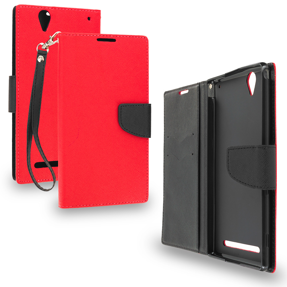Sony Xperia T2 Ultra D5303 Red / Black Leather Flip Wallet Pouch TPU Case Cover with ID Card Slots