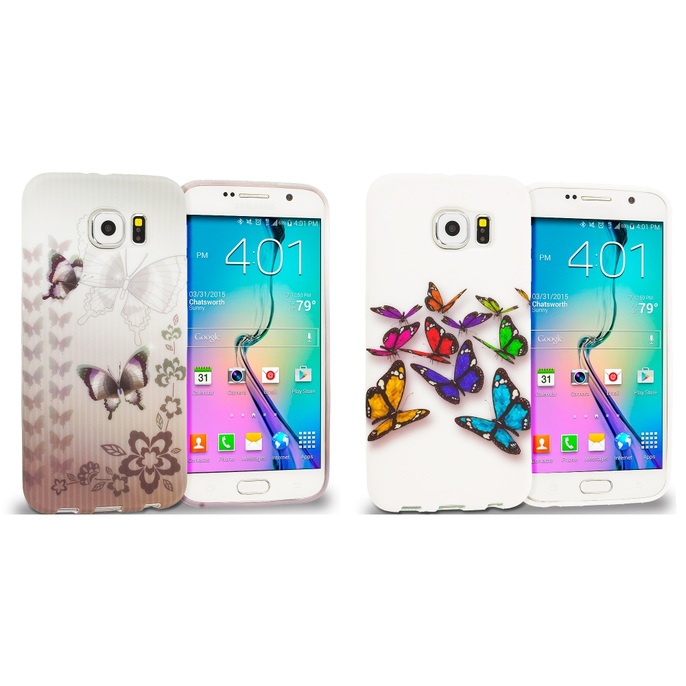 Samsung Galaxy S6 Combo Pack : Black Butterfly TPU Design Soft Rubber Case Cover