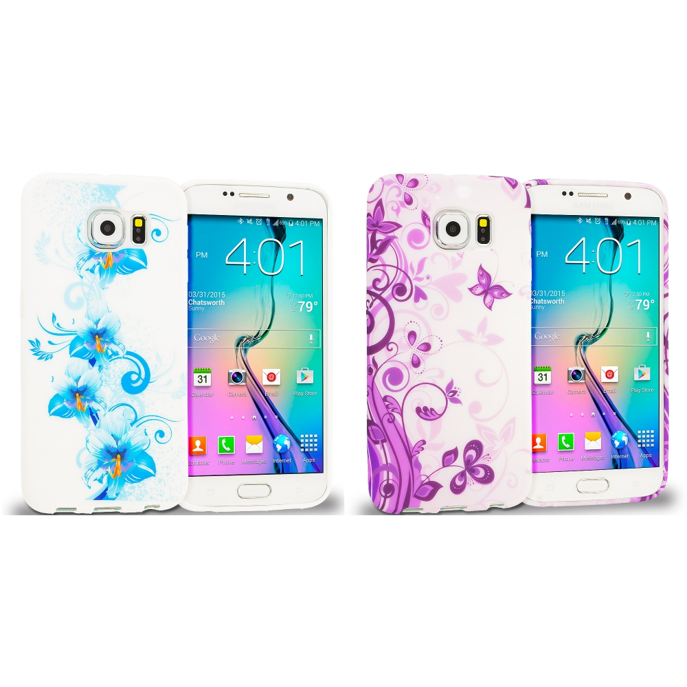 Samsung Galaxy S6 Combo Pack : Blue White Flower TPU Design Soft Rubber Case Cover