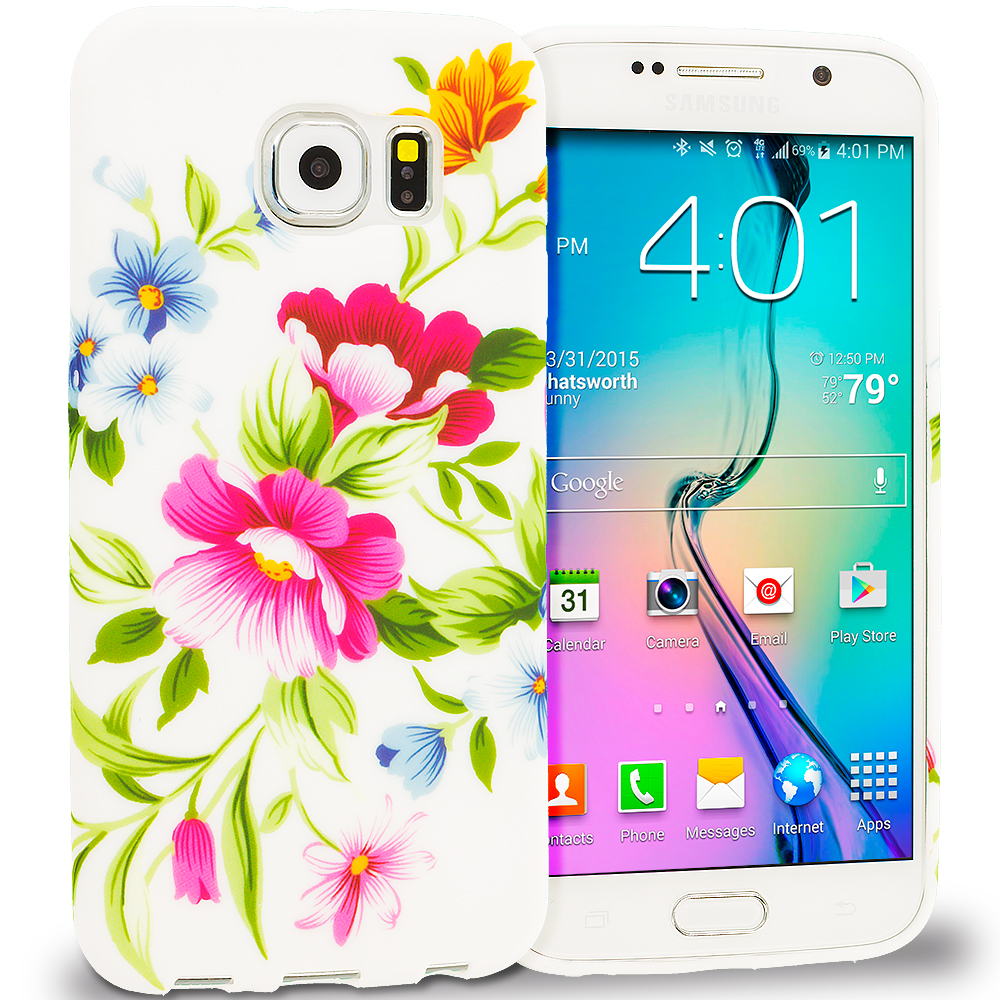Samsung Galaxy S6 Combo Pack : Flower Painting TPU Design Soft Rubber Case Cover : Color Flower Painting