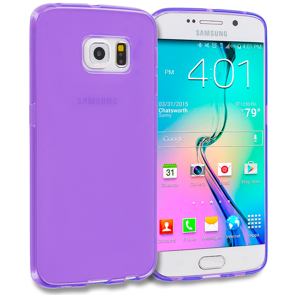 Samsung Galaxy S6 Edge Purple Plain TPU Rubber Skin Case Cover