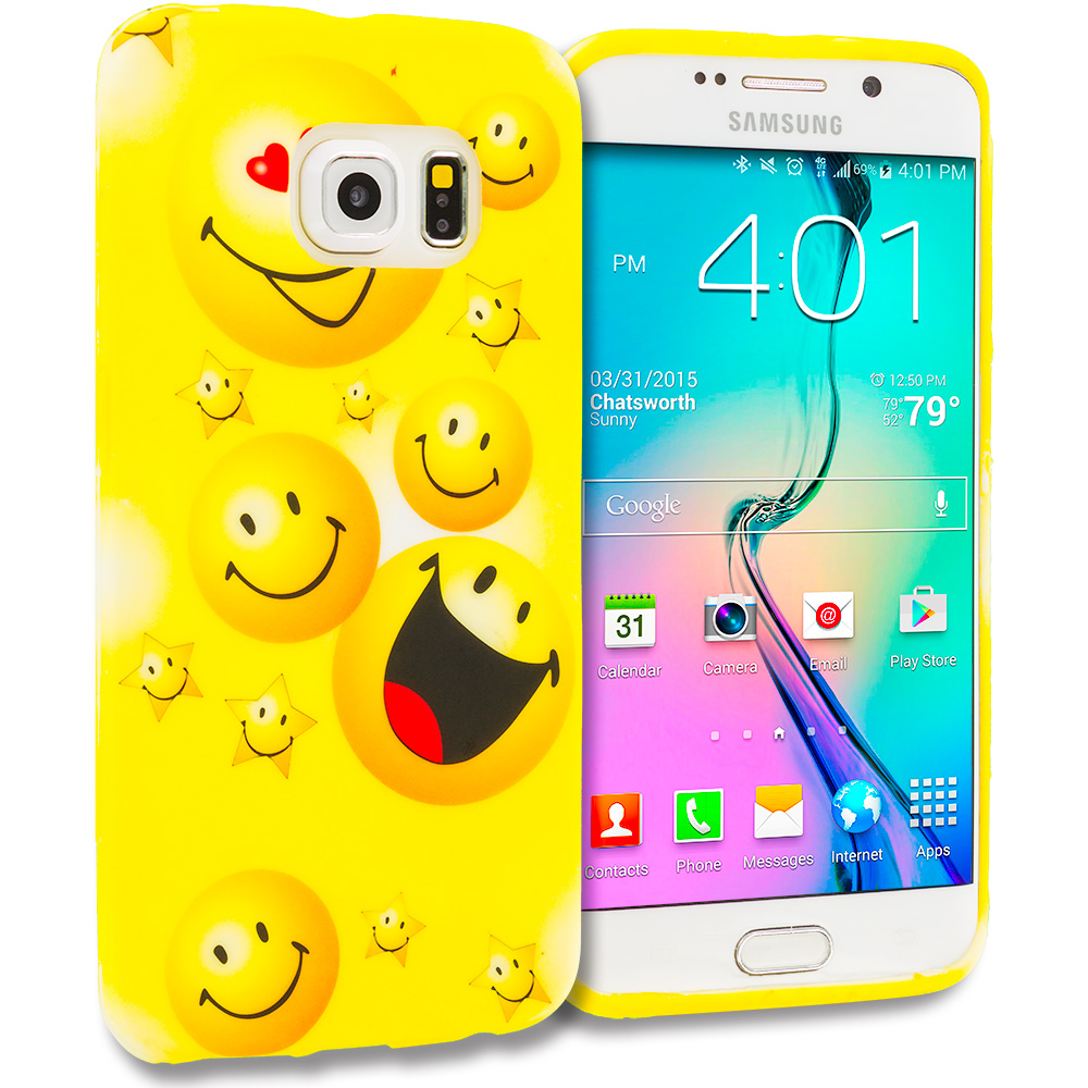 Samsung Galaxy S6 Edge Smiley Face TPU Design Soft Rubber Case Cover
