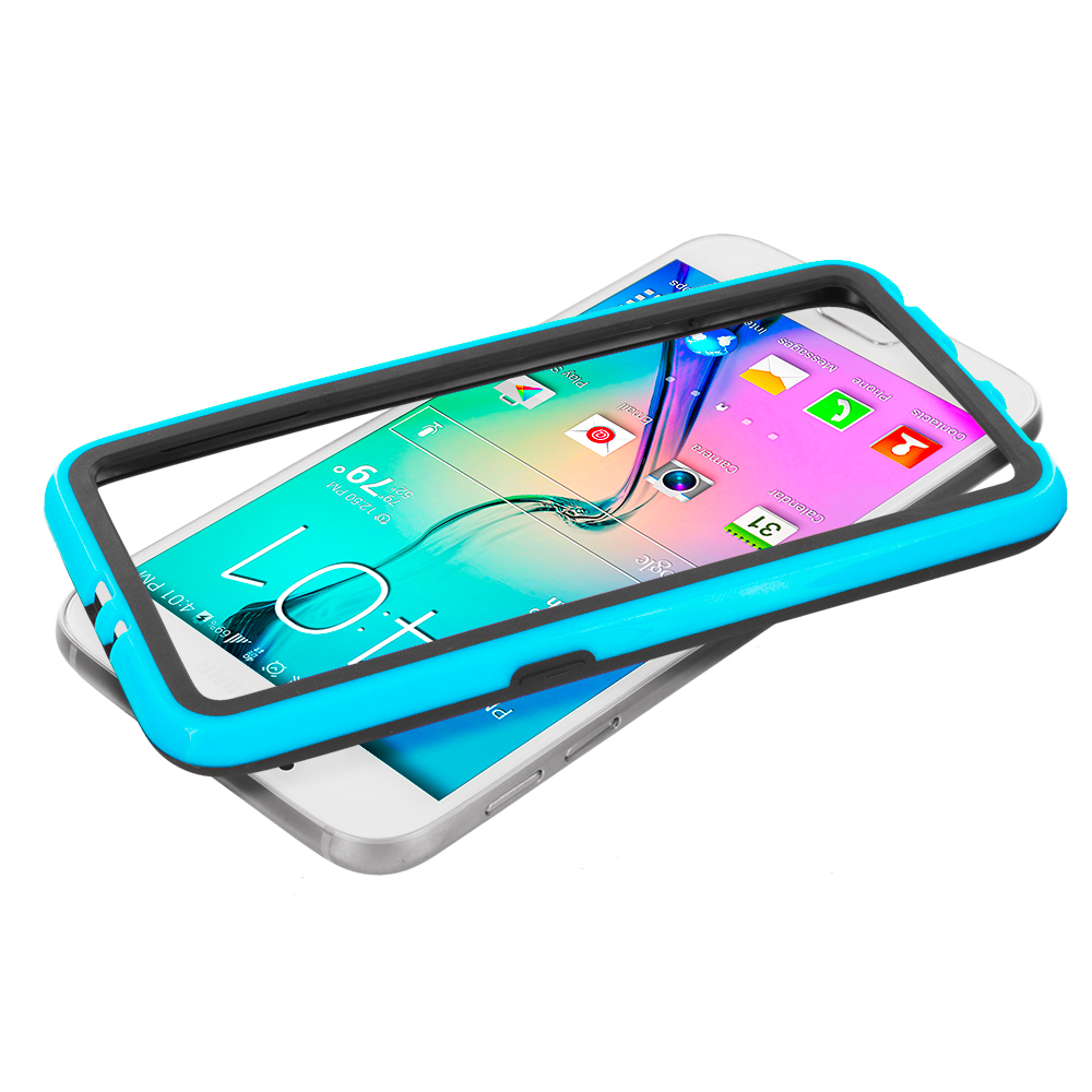 Samsung Galaxy S6 Combo Pack : Black / Baby Blue TPU Bumper Frame with Metal Buttons : Color Black / Baby Blue
