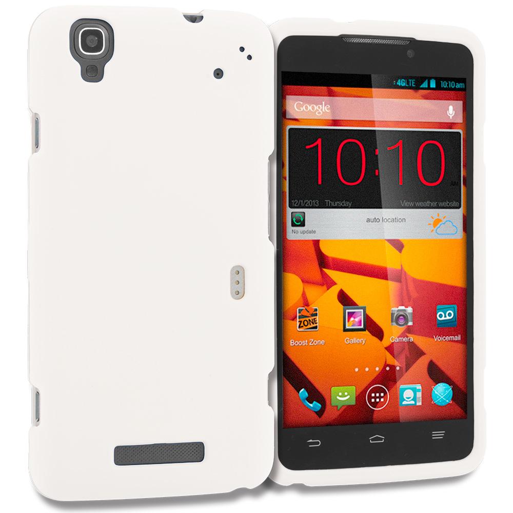 ZTE Boost Max Max Plus + N9521 White Hard Rubberized Case Cover