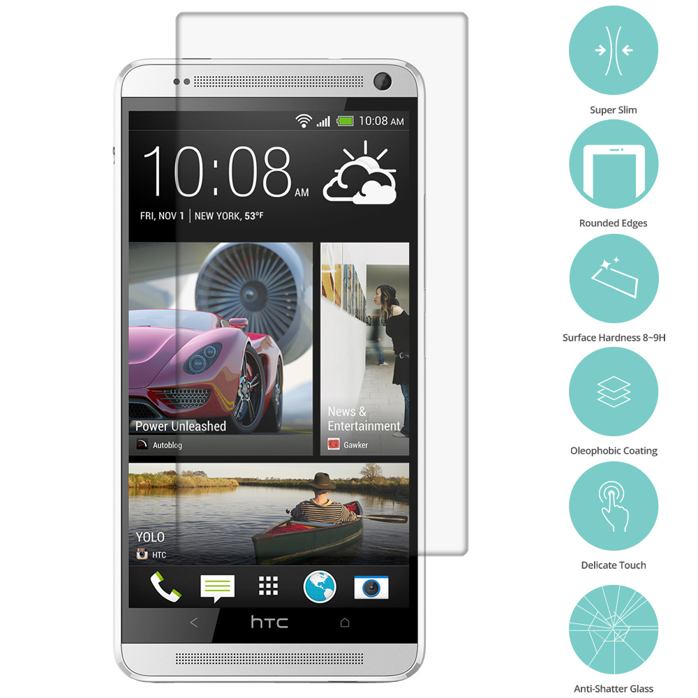 HTC One Max Clear Tempered Glass Film Screen Protector Clear