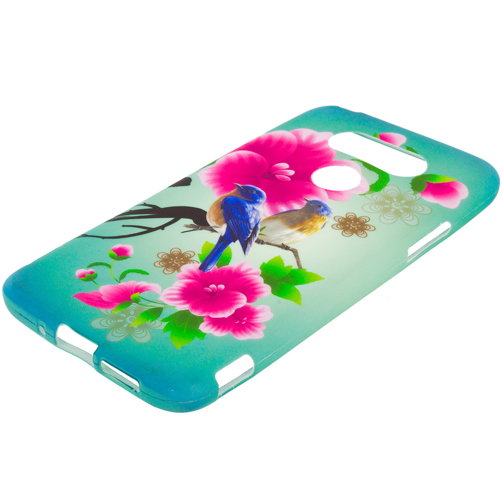 LG G5 Blue Bird Pink Flower TPU Design Soft Rubber Case Cover