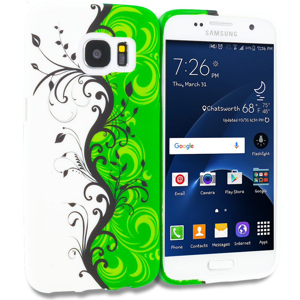 Samsung Galaxy S7 Green / White Swirl TPU Design Soft Rubber Case Cover