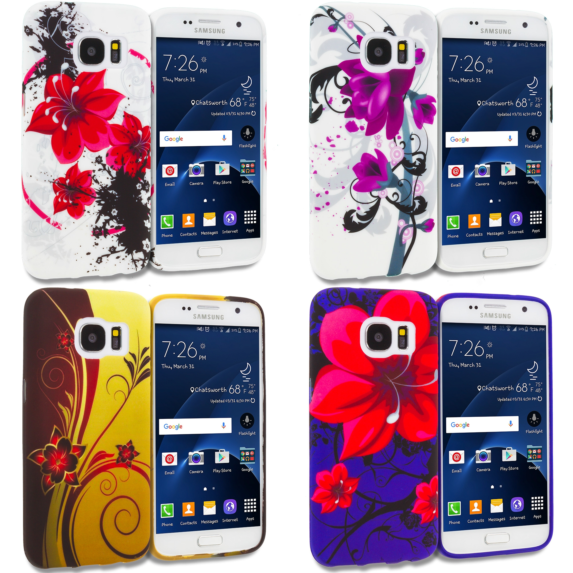 Samsung Galaxy S7 Combo Pack : Red Black Flower TPU Design Soft Rubber Case Cover